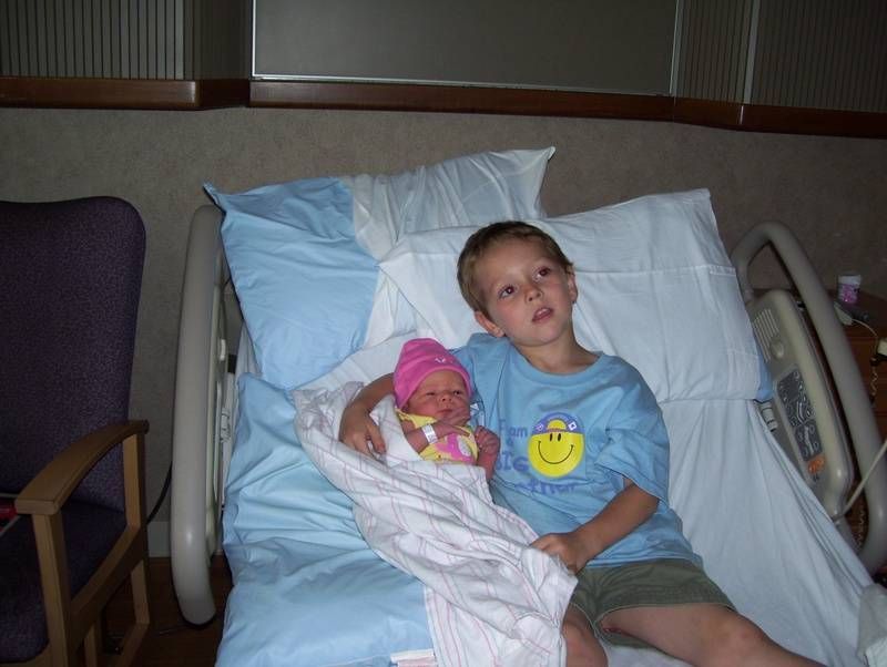 My little man with his new baby sis