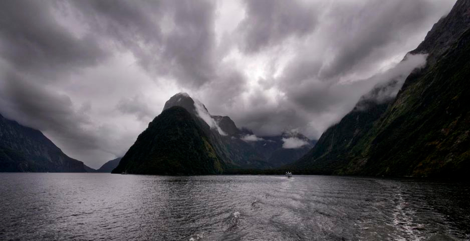 Milford sound storm clouds