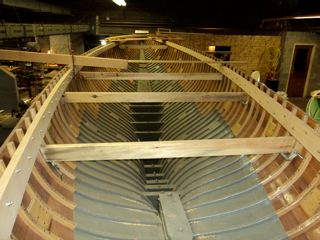 Hull interior varnished and painted