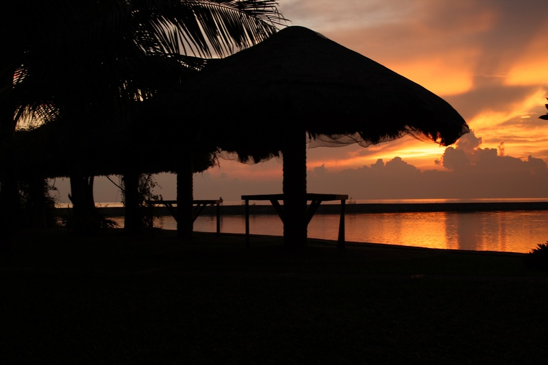 Palmas del Mar huts in the sunset