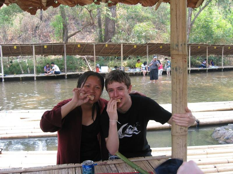 Rojana and Paul lunching at the river