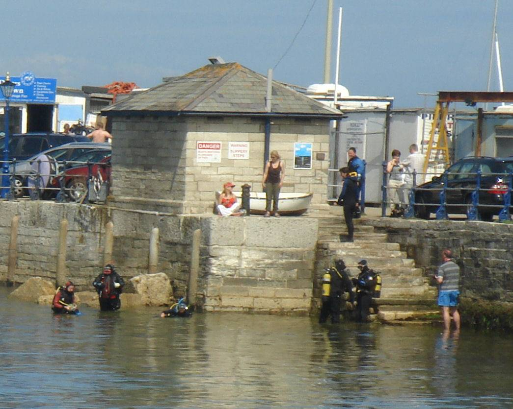 Diving at the pier