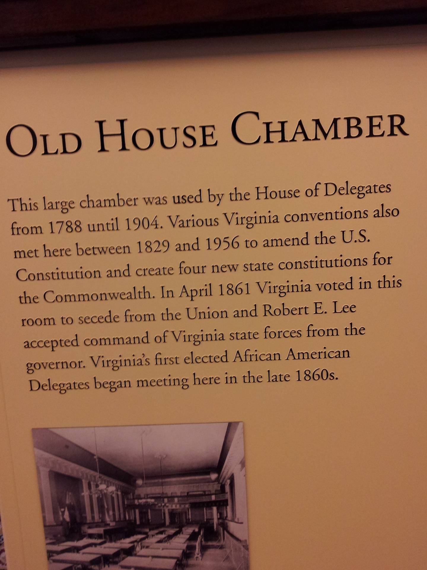 Description of Old House Chamber