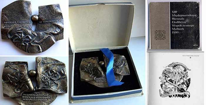 Medal by XIII International Biennale of Ex libris. Malbork Polland. 1990
