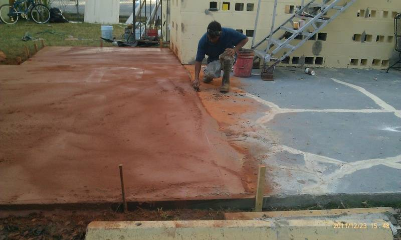 Additiona of Concreted area to back of the lodge