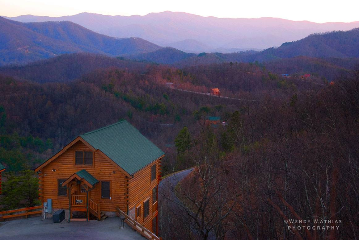 Sunset view of cabin and surroundings