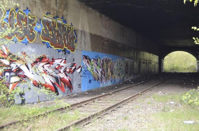 Recent graffiti in the tunnel
