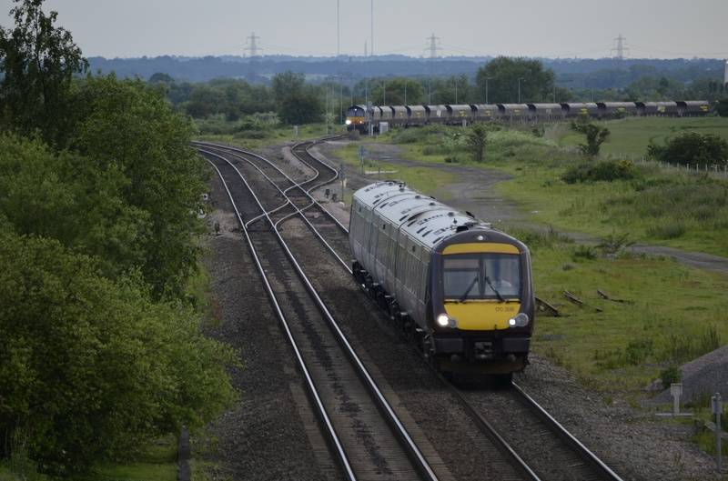 Class 170 as 66 415 waits at Wichnor Junction