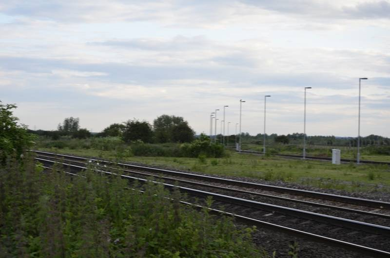 Lamp posts (spot lights) on the curve at Wichnor