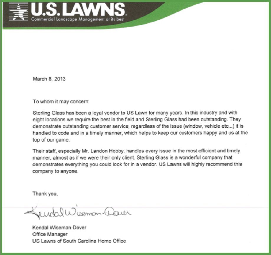 Recommendation from US Lawns