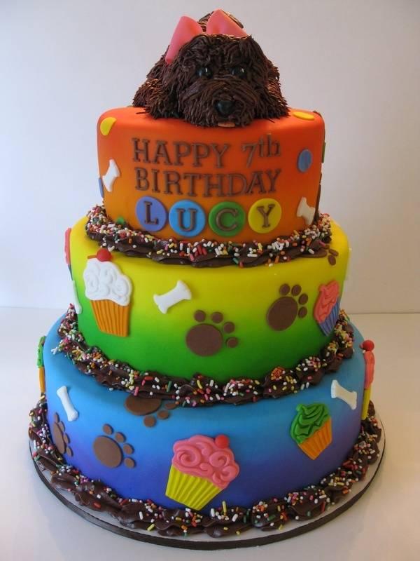 Lucy's Rainbow Puppy Birthday Cake