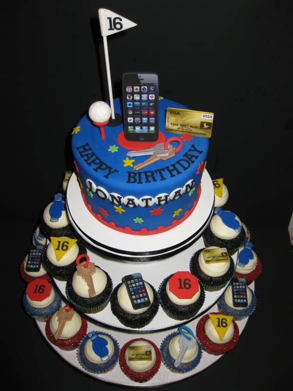 Jonathan's 16th Birthday Cake & Cupcakes