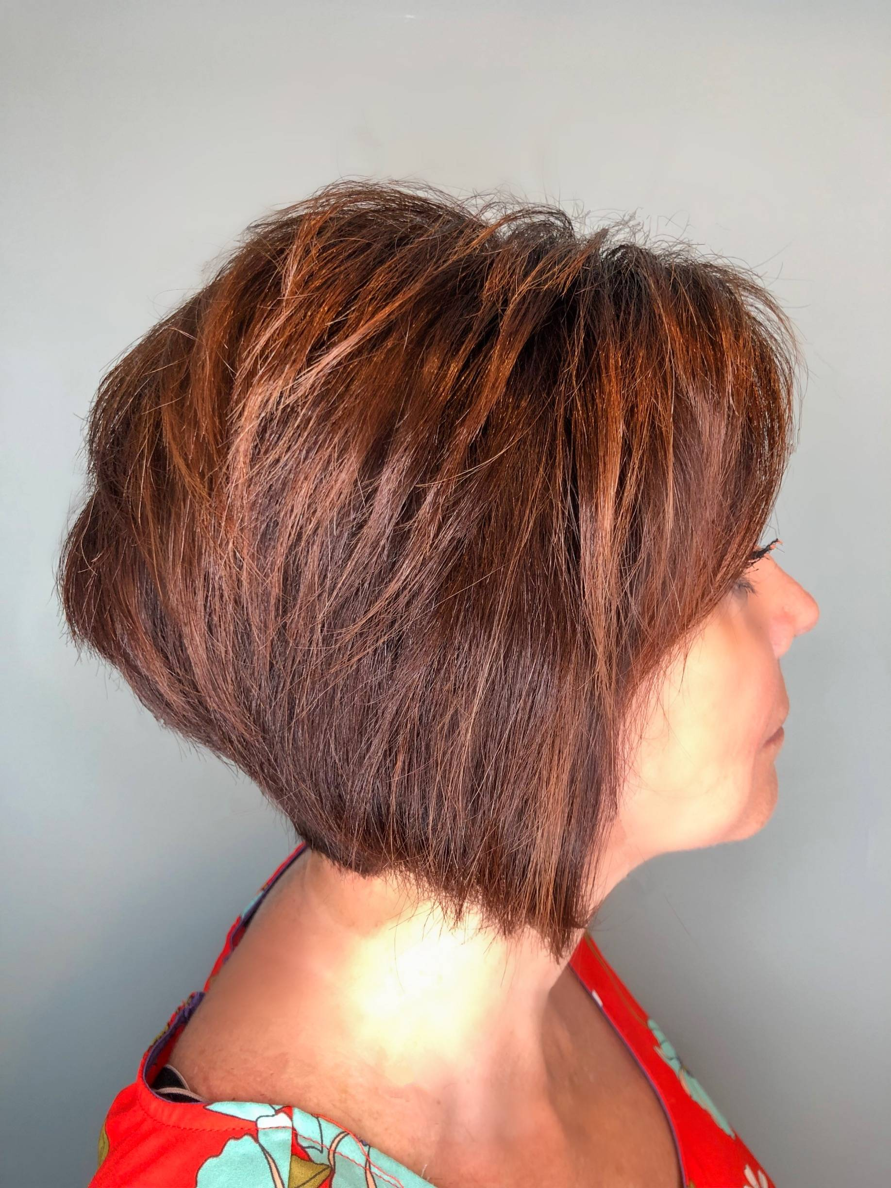 Red base color with caramel highlights