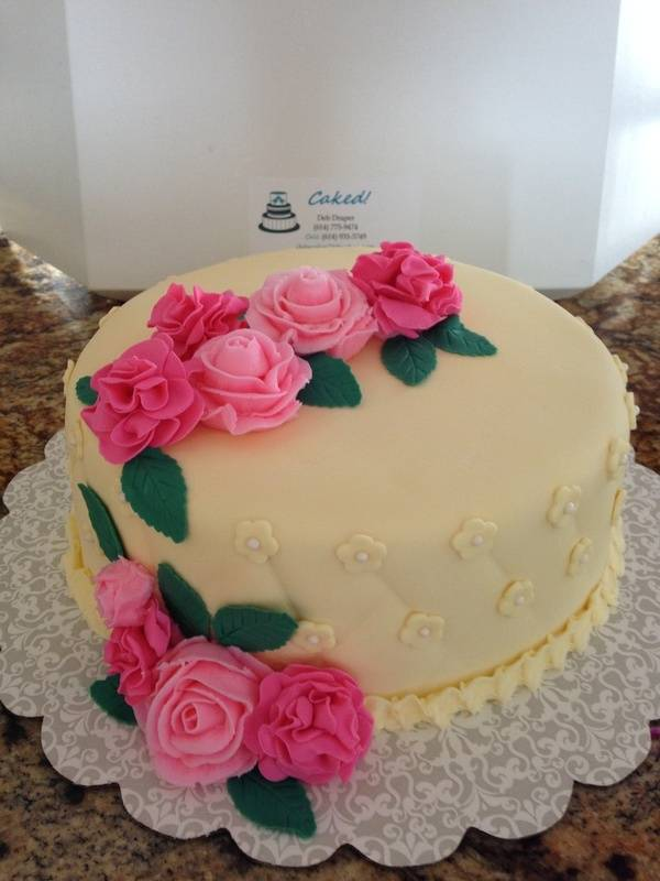 Pale Yellow Birthday cake with flowers