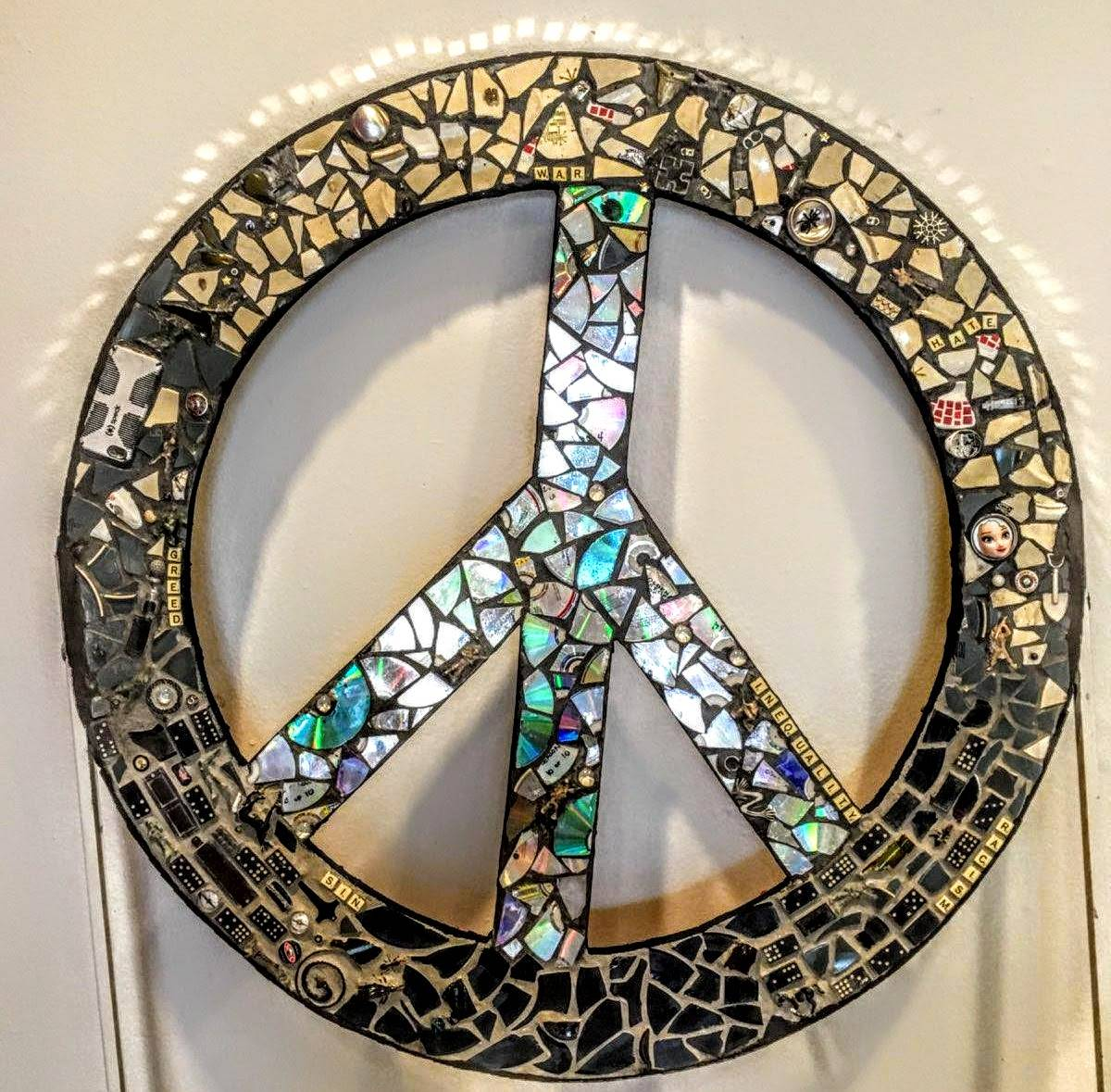 Peace mosaic sculpture