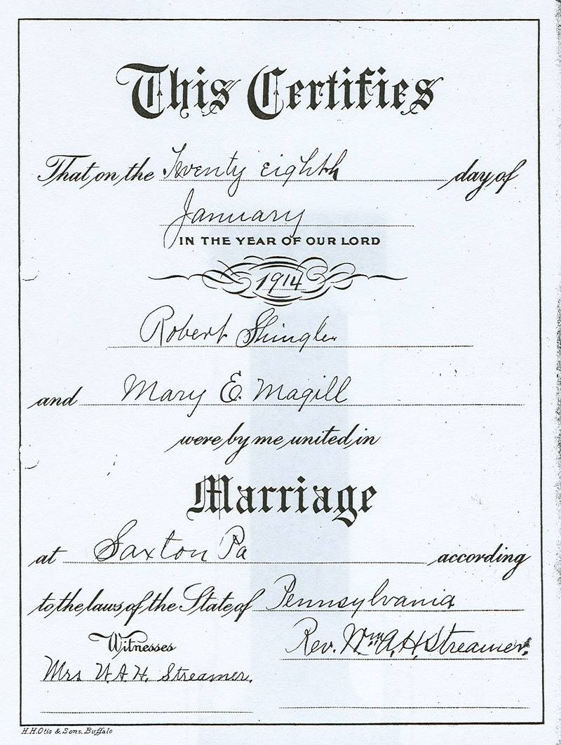 Robert Shingler and Mary E. Magill Marriage Certificate