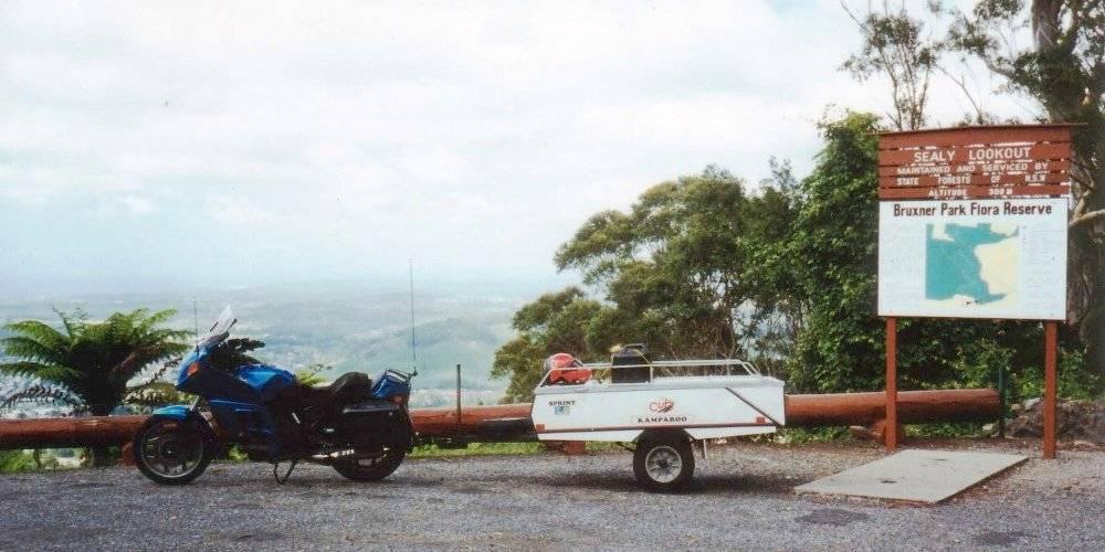 Tom's K75RT & Camper Trailer Overlooking Coffs Harbour - Dec 1994