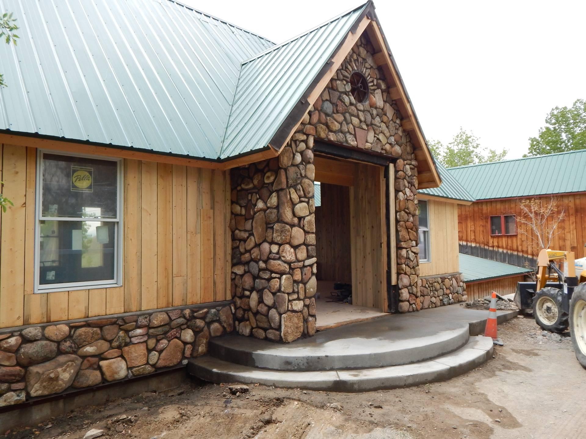 Field Stone veneer on new building at the LoneHawk Farm near Boulder Colorado