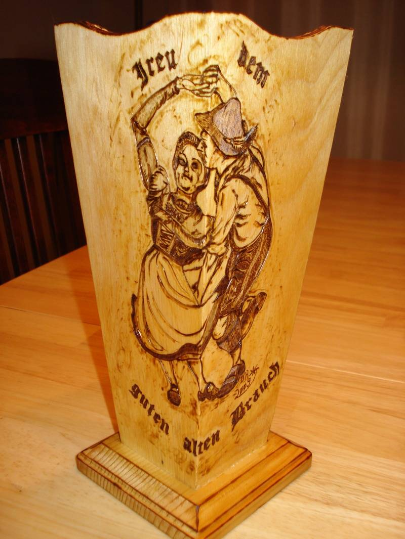 Bavarian Dance Couple Wooden Vase