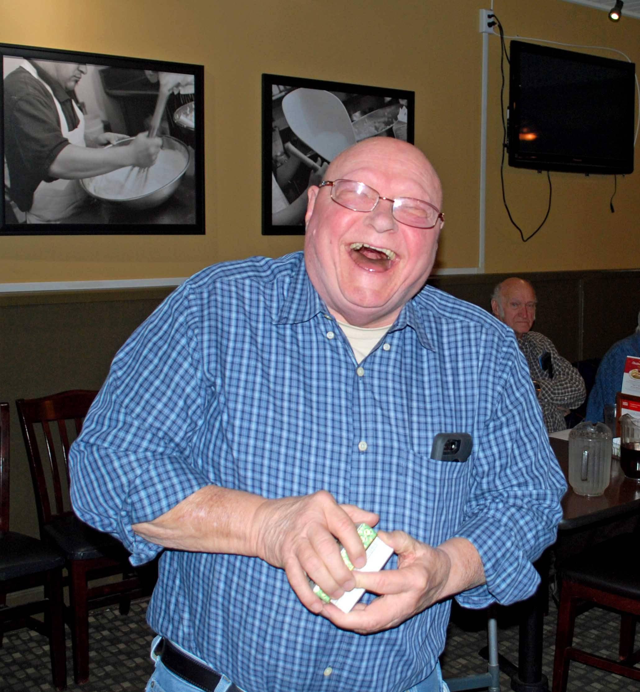 Dennis B really likes his gift!
