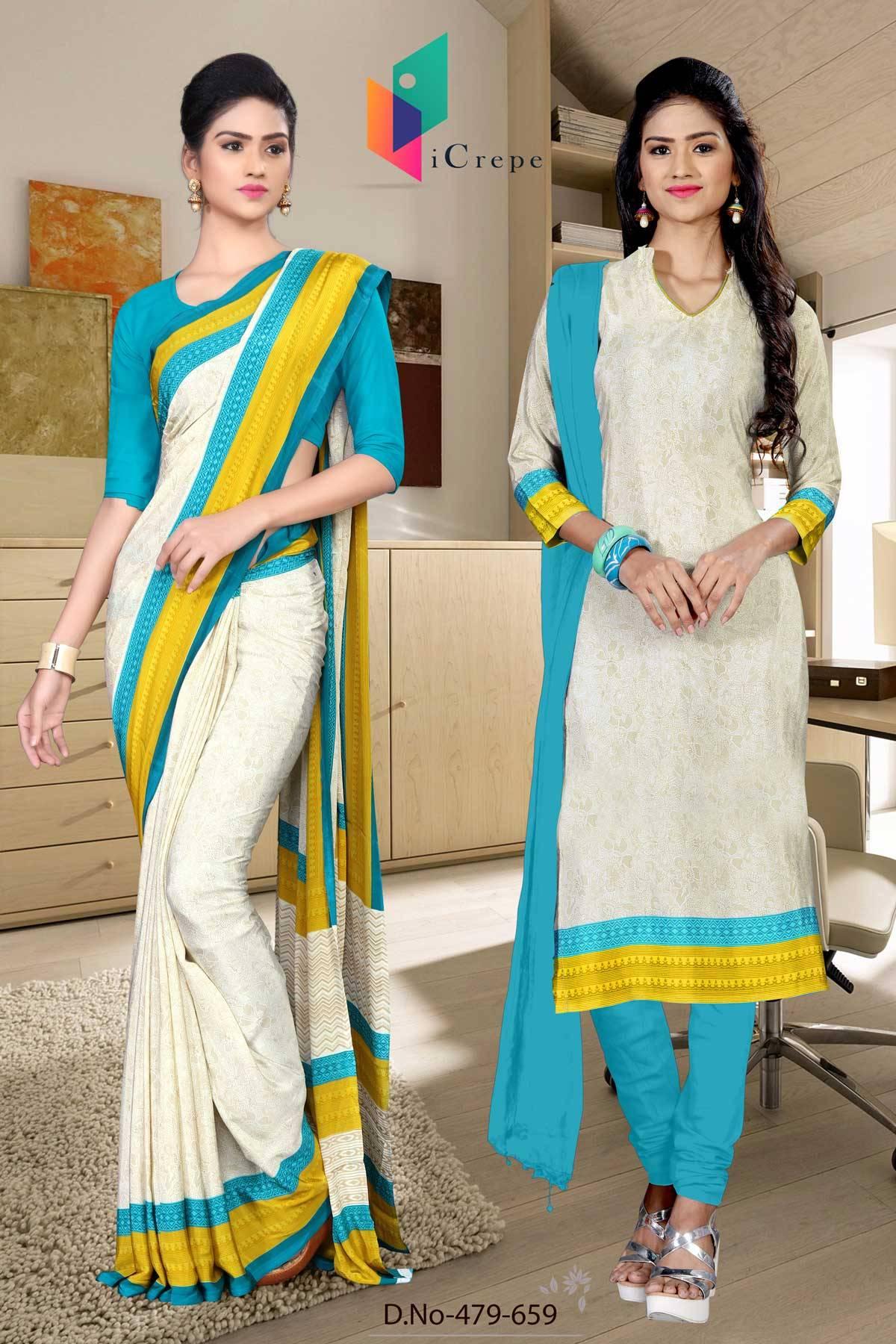 Off White and Blue Italian Crepe Silk Uniform Saree and Salwar combo-479-659