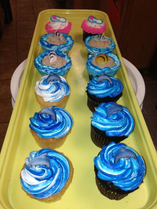 Beach & Water Themed Cupcakes