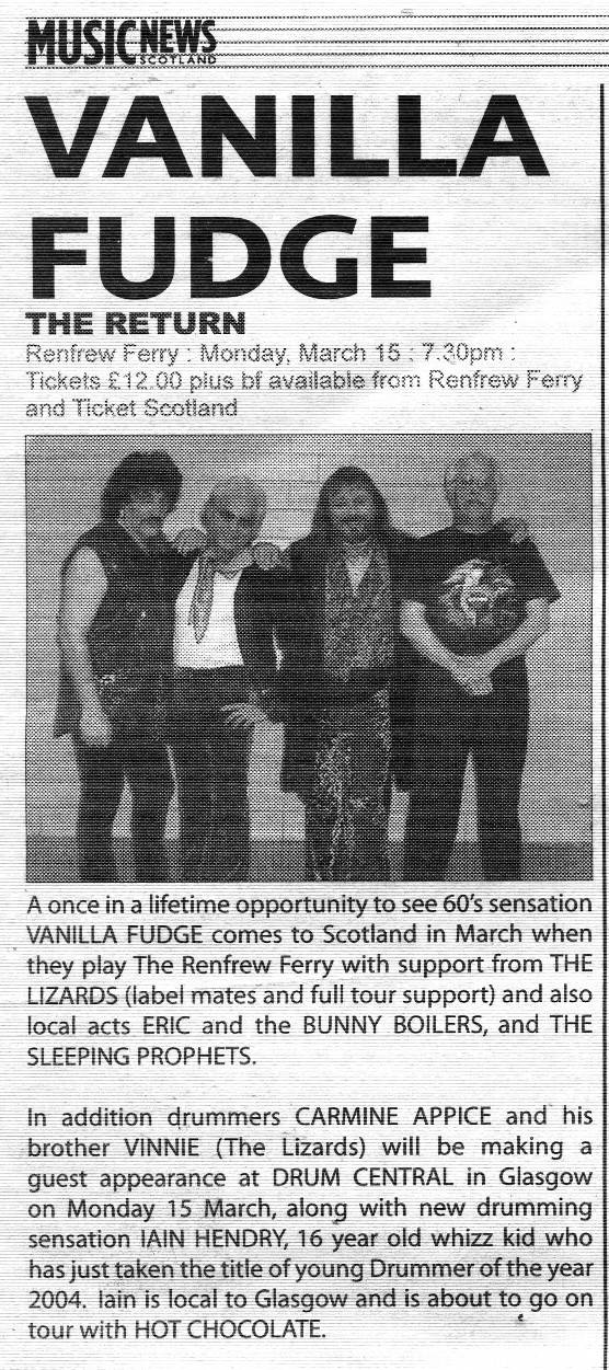 VANILLA FUDGE SUPPORT: