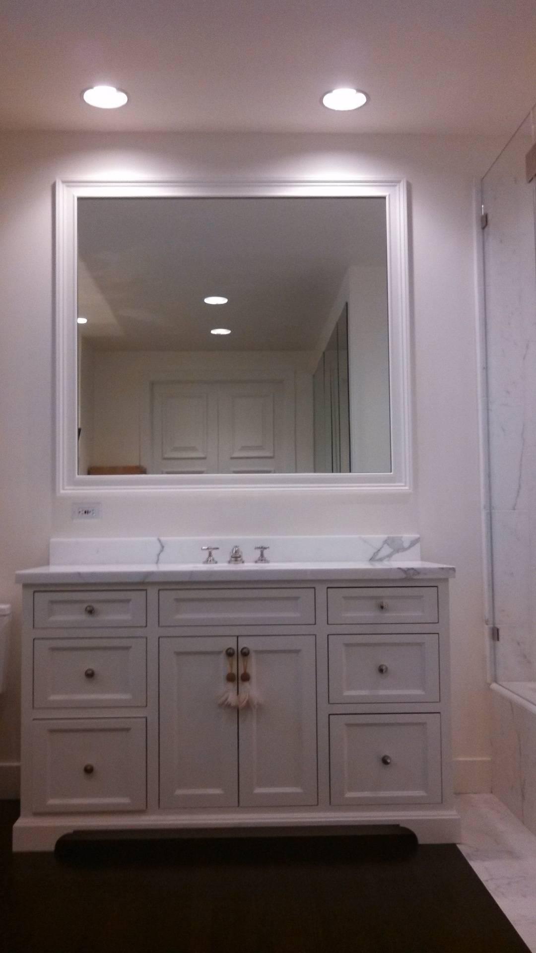 Bathroom framed mirror