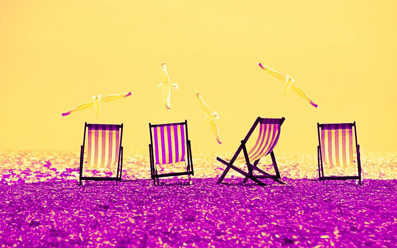 Beach Chairs - Yellow & Purple