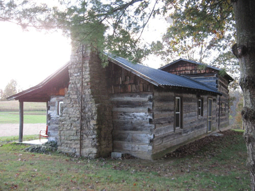 View of cabin from behind