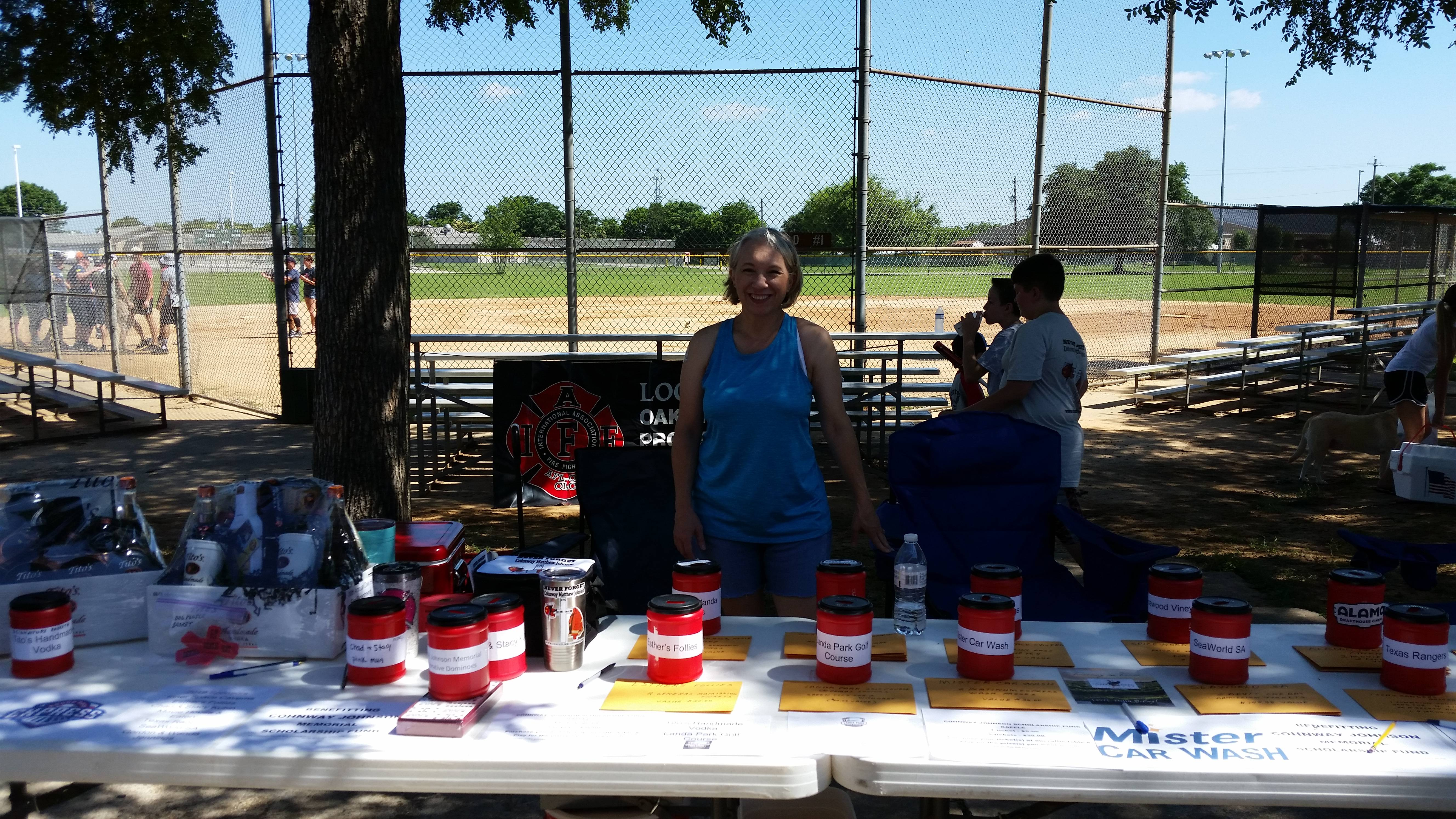 Amy Russell, wife of Mack Russell w/Westlake, manages the raffle table