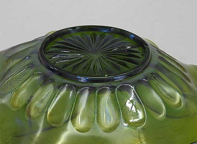 "Four Flowers Variant reverse of 9"" ruffled bowl, olive green, Brockwitz,  Brockwitz"