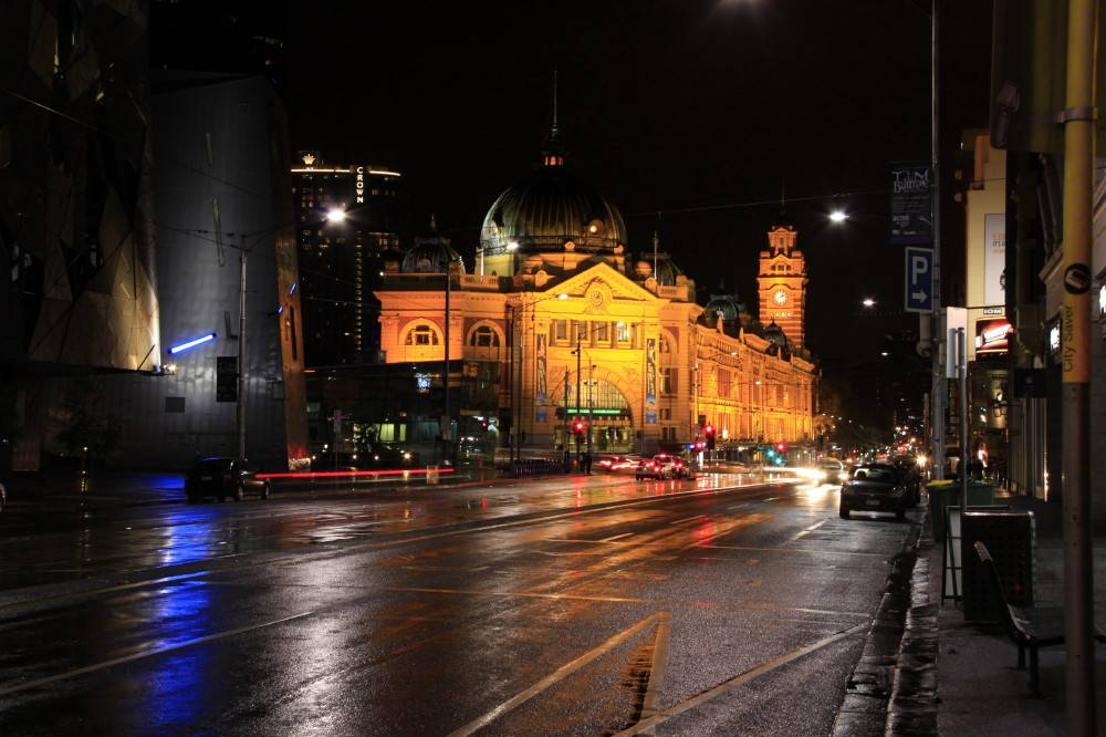 Flinders Street Station in the Wet