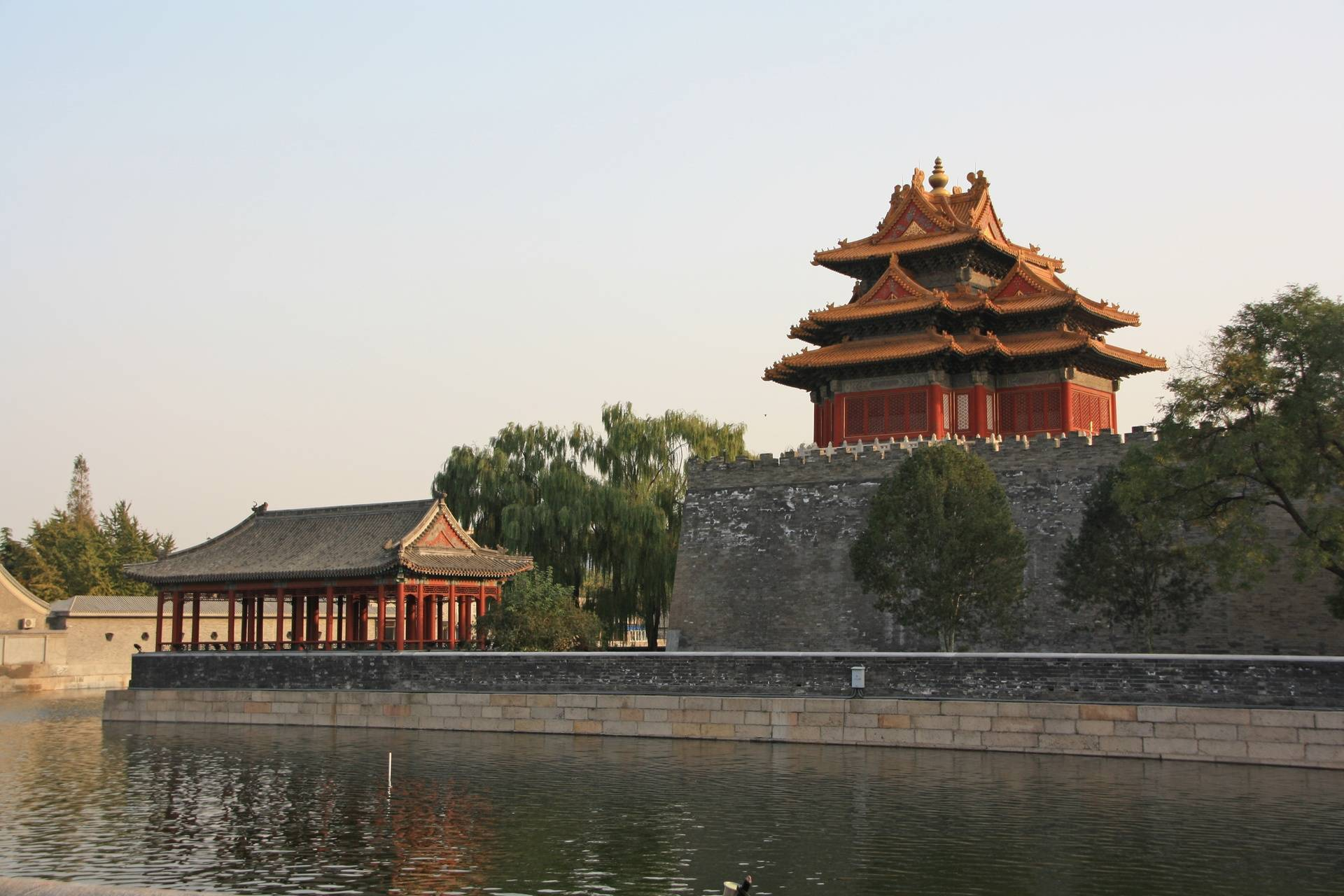 Moat and walls of Forbidden City in Beijing