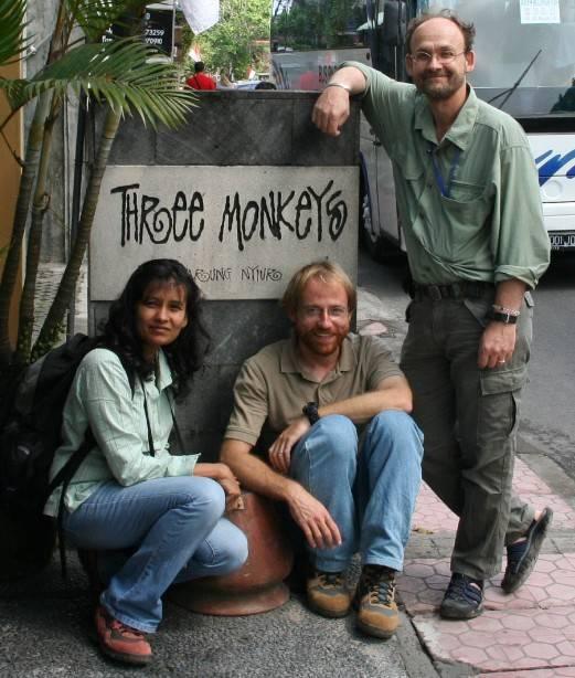 The 2008 Stone Handling Team: Charmalie Nahallage, JB Leca, and Mike Huffman (Ubud, Bali, August 2008)
