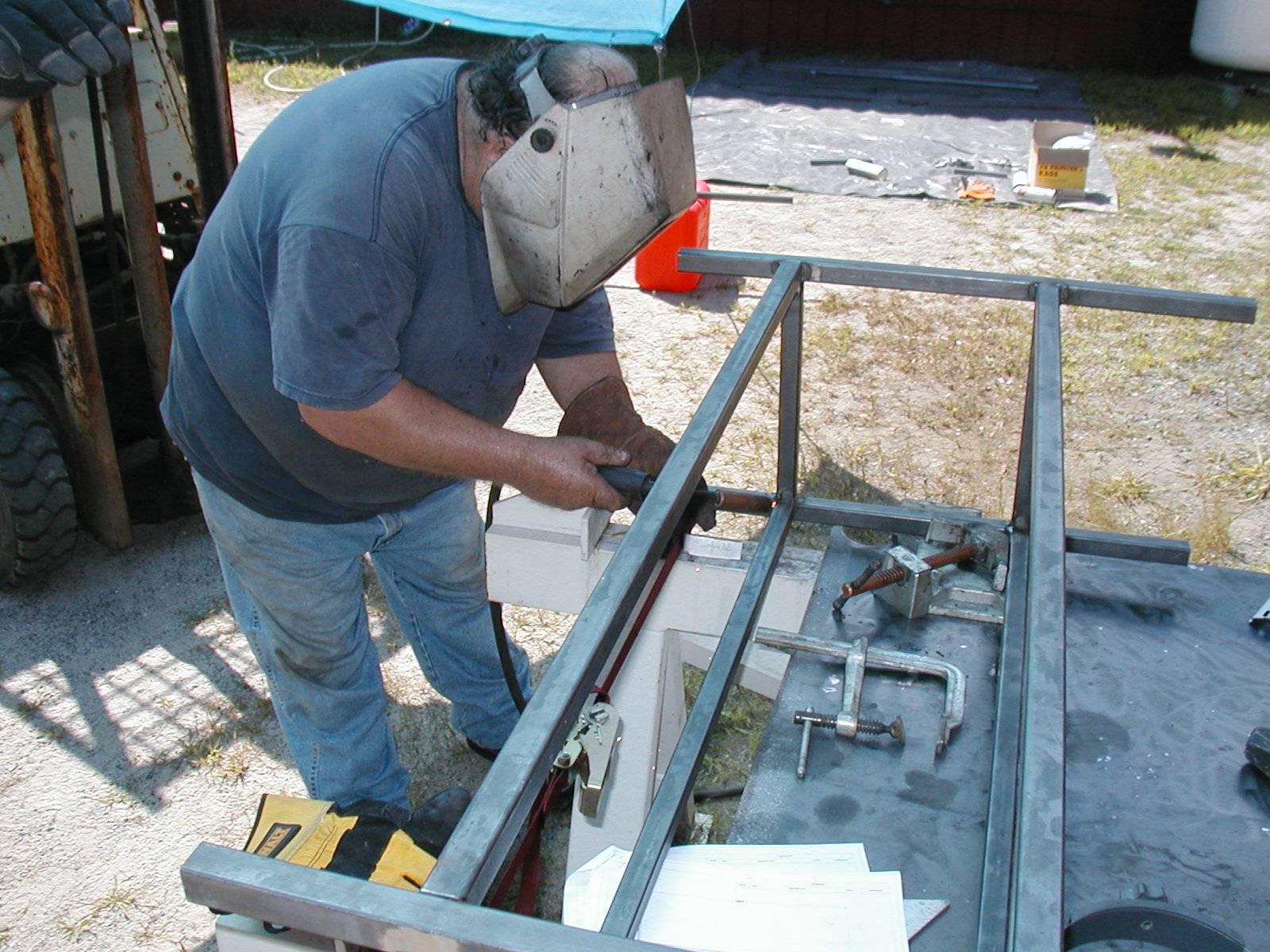 Welding the bench frame