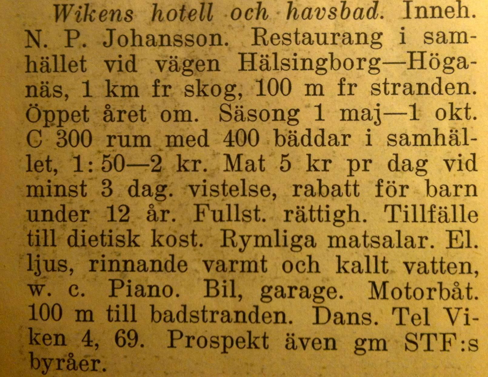Wikens hotell och havsbad 1941