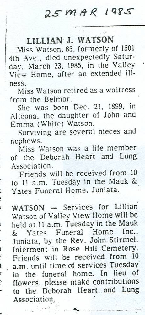 Watson, Lillian J. 1985