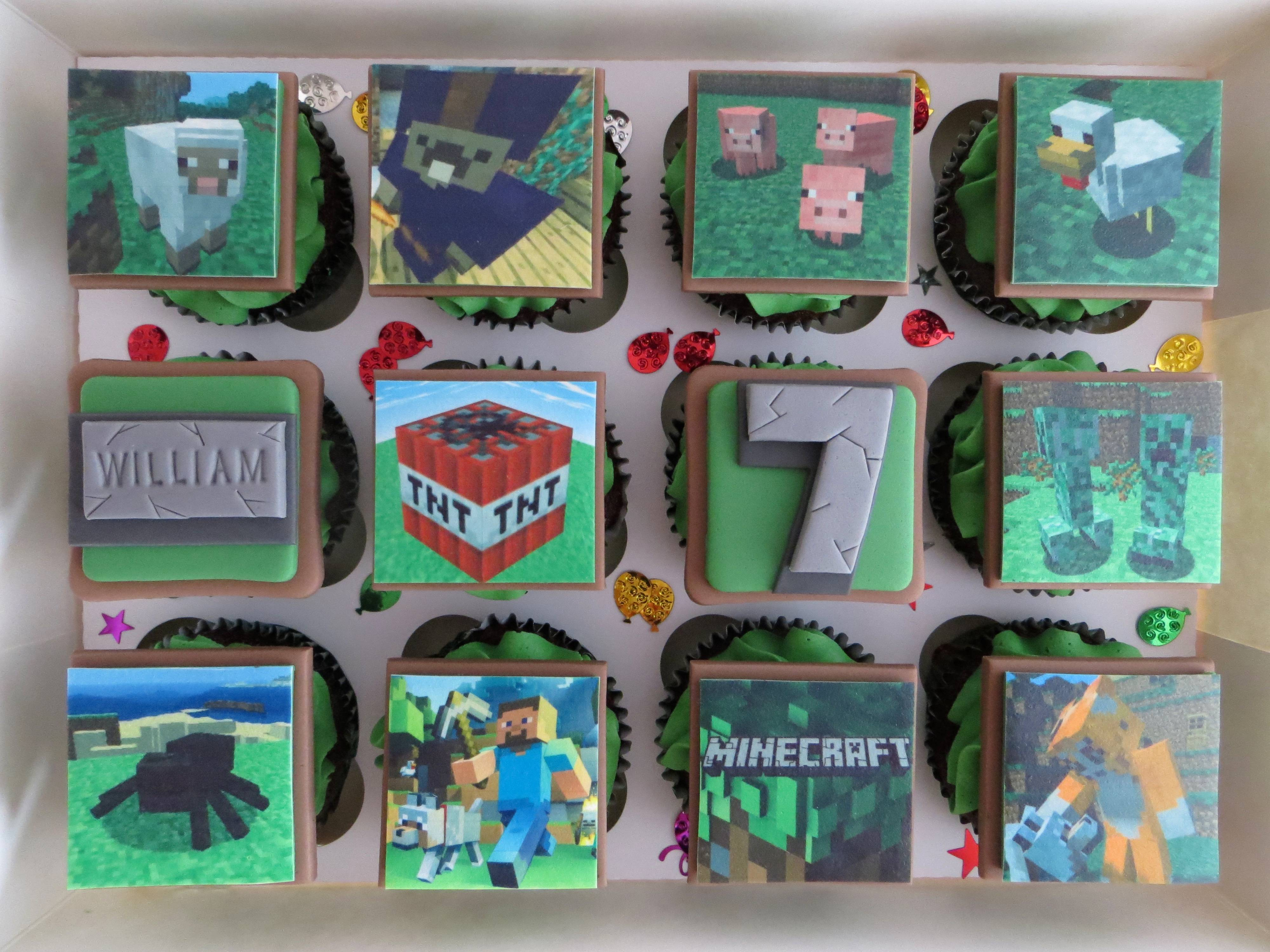 Minecraft Birthday Cupcakes