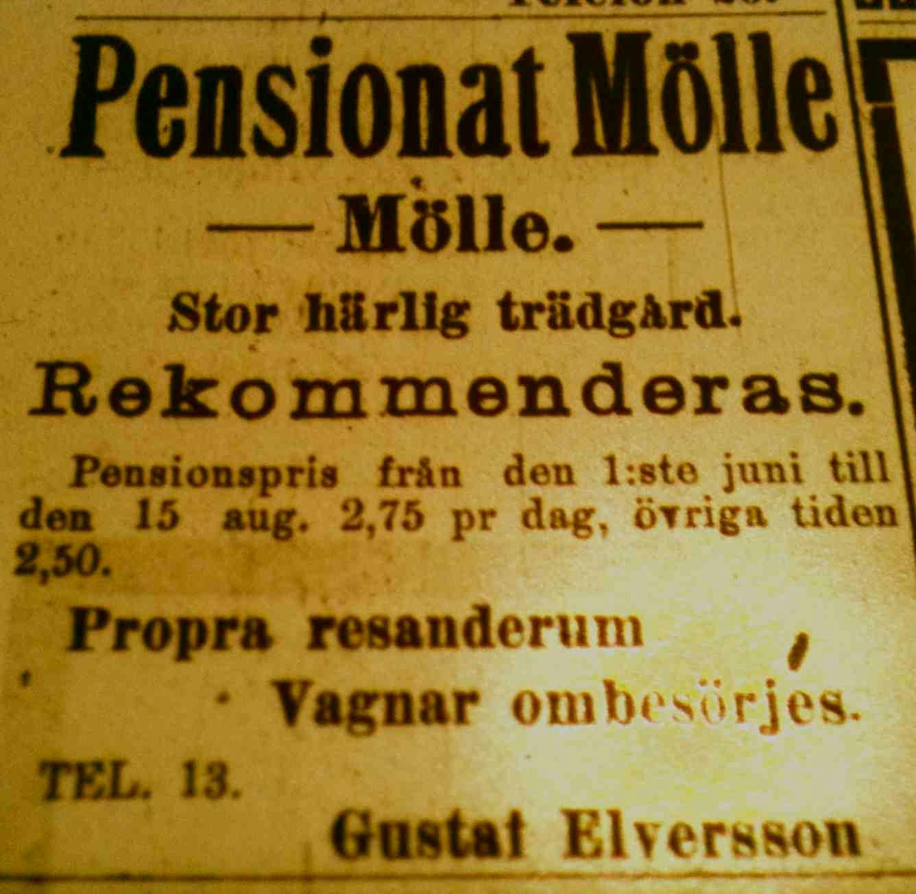 Turisthotellet (Pensionat Molle) 1913