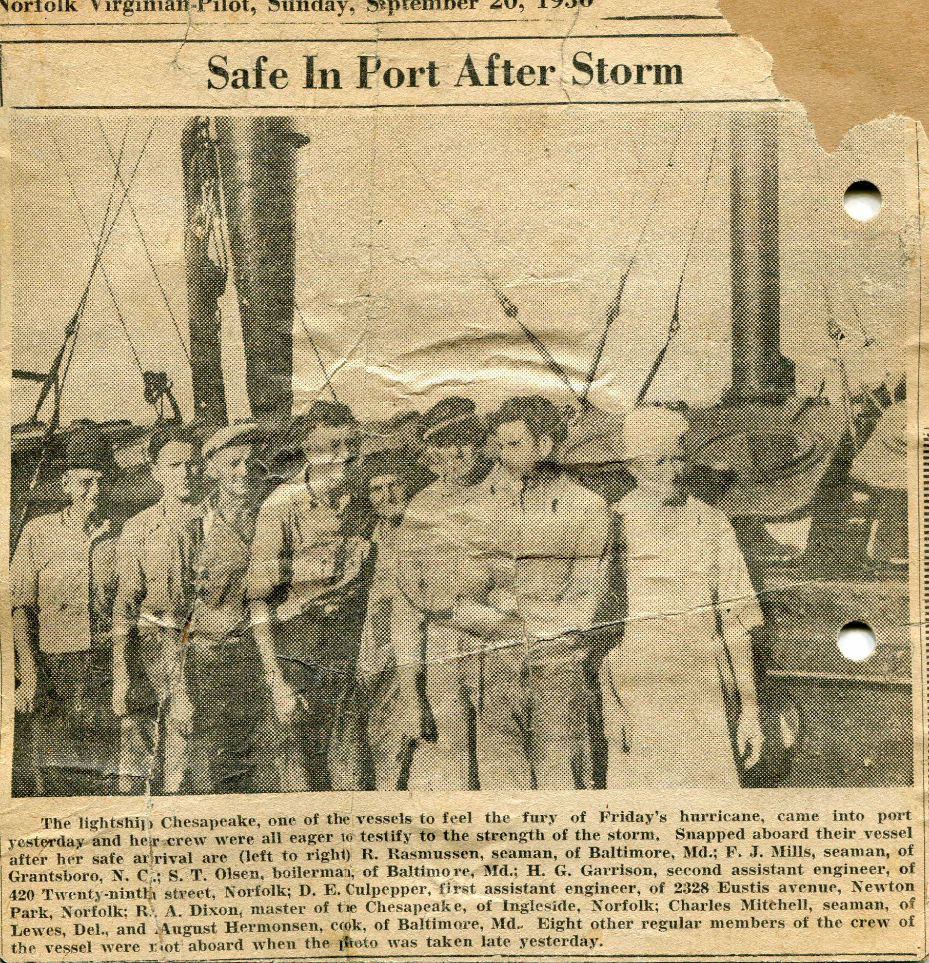 Lightship 116 crew after 1936 Hurricane