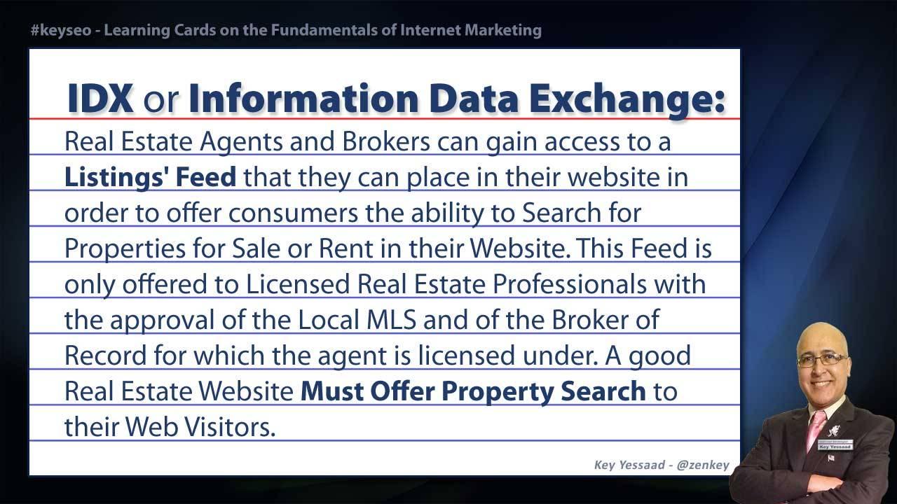 IDX or Information Data Exchange - Real Estate SEO Short Definition