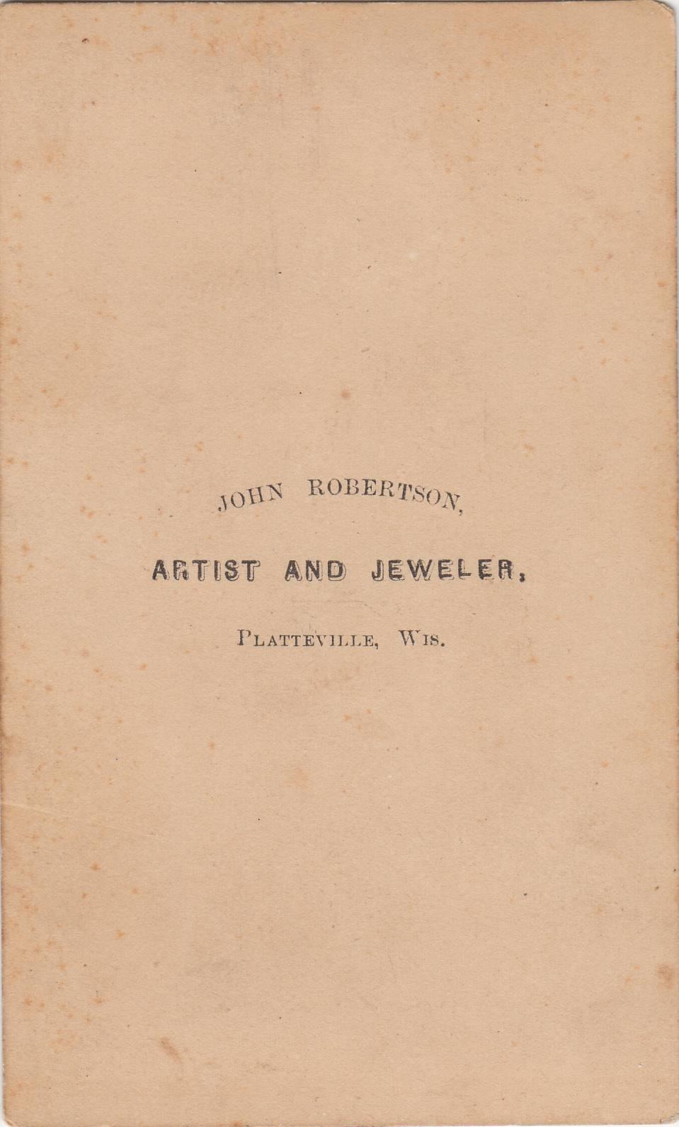 John Robertson,  photographer of Platteville, WI No. 3 - back