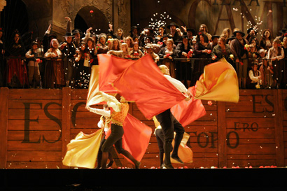 My Opera Troupe in Carmen with Hand Flags