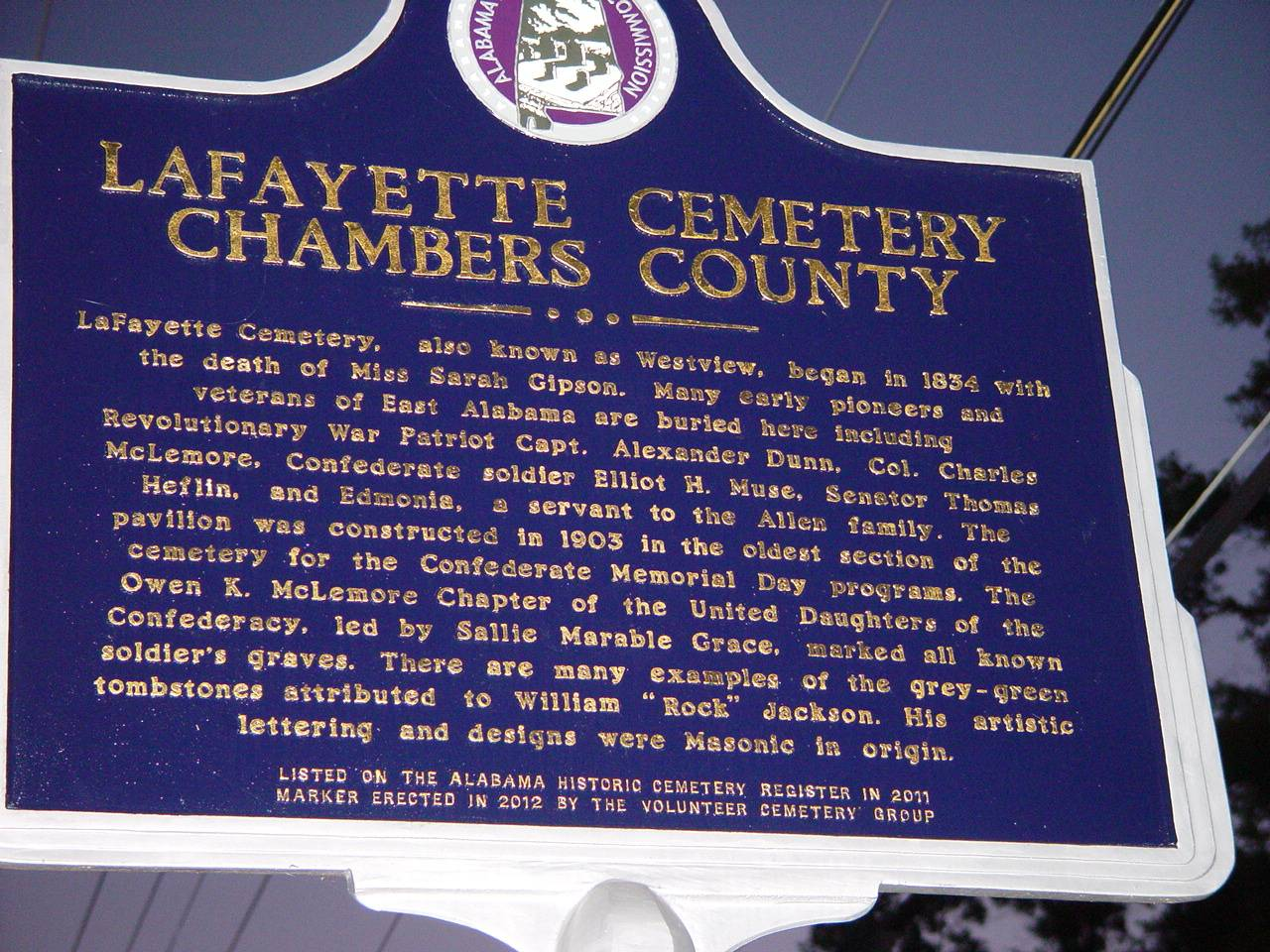 Marker at the cemetery entrance