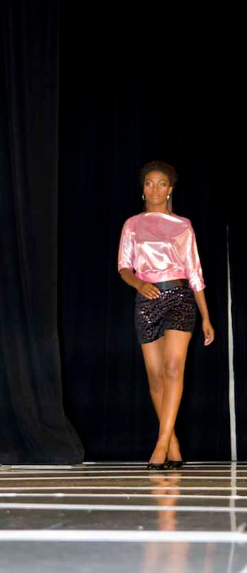 Disco, pink top and black burn-out shorts