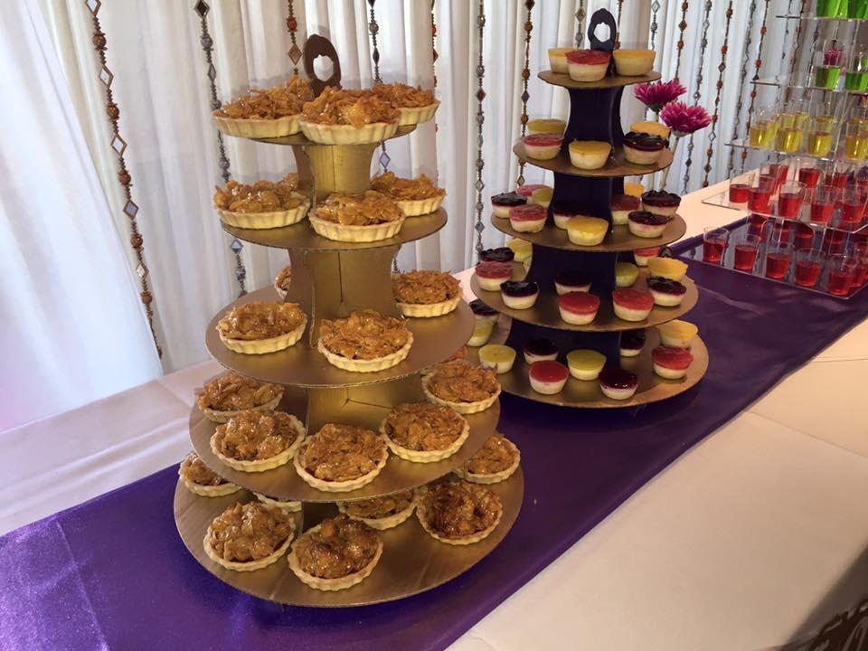 Cornflake tarts and mini cheese cakes.