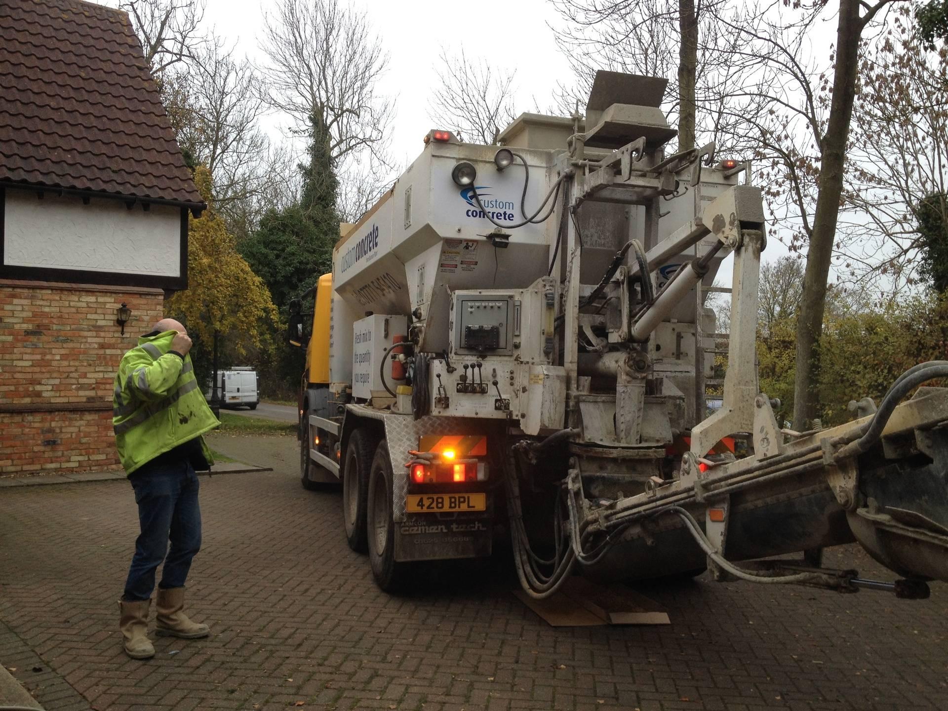 Concrete mix arrives