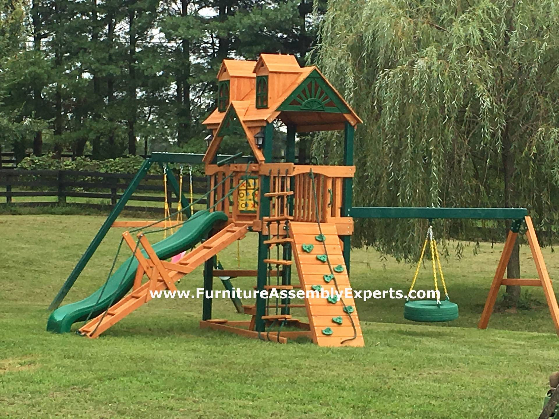Gorilla frontier cedar swing set installation in DC MD VA