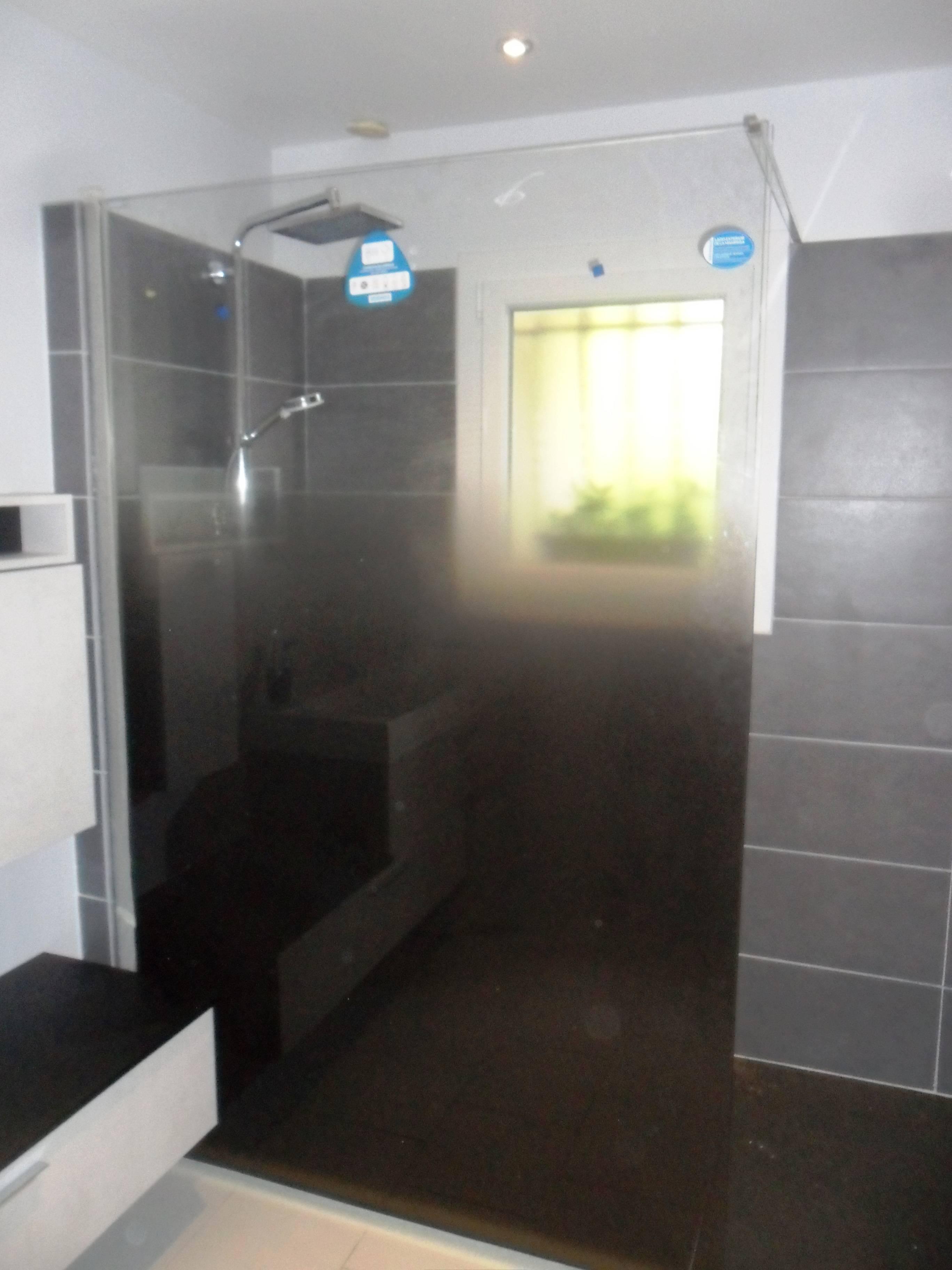 Douche avec paroi dégradée